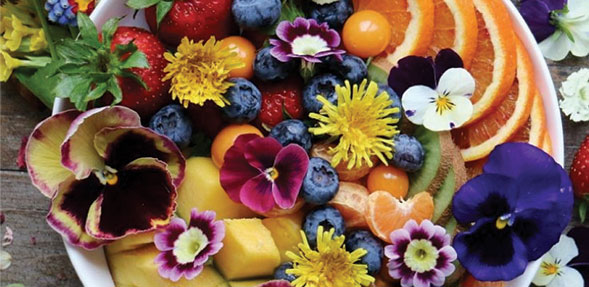 Fruit Plate Garnished with Fresh Flowers